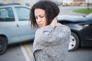 woman with strained neck after car accident injury